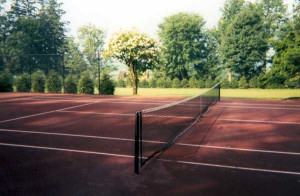 New red Northeast Fast Dry tennis court by Piretti Sports