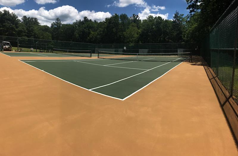 New DecoTurf court construction by Piretti Tennis and Sports Surfacing