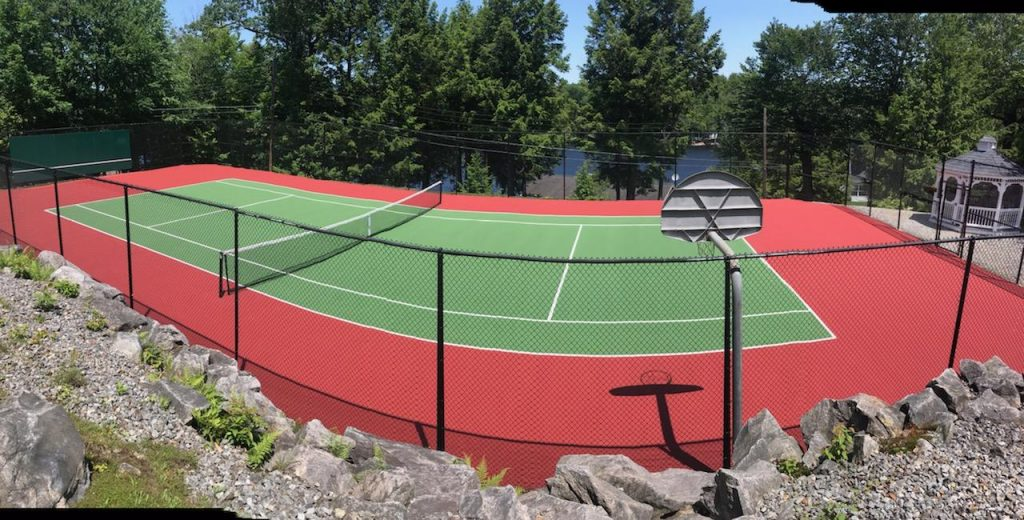 DecoTurf court construction by Piretti Tennis and Sports Surfacing